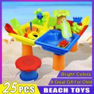 25pcs Beach Toy Set Kids Gift Digging Pit Sand Water Table Shovel Outdoor Games Sandglass Play Funny