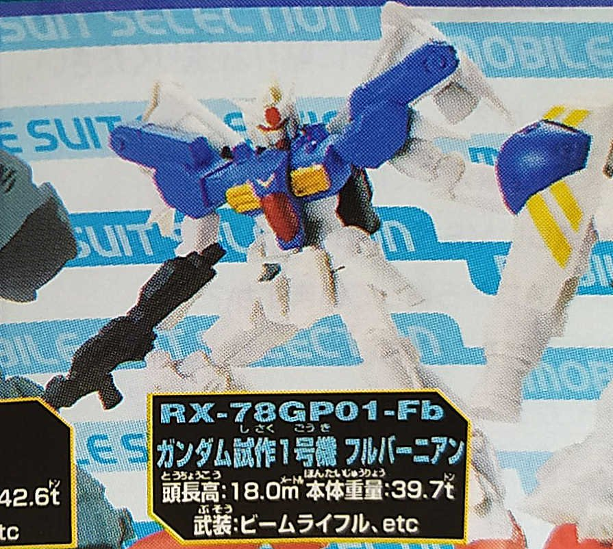 Gundam MS Selection 21 RX-78GP01-Fb Gundam Zephyranthes Full Burnern Gashapon Figure Bandai