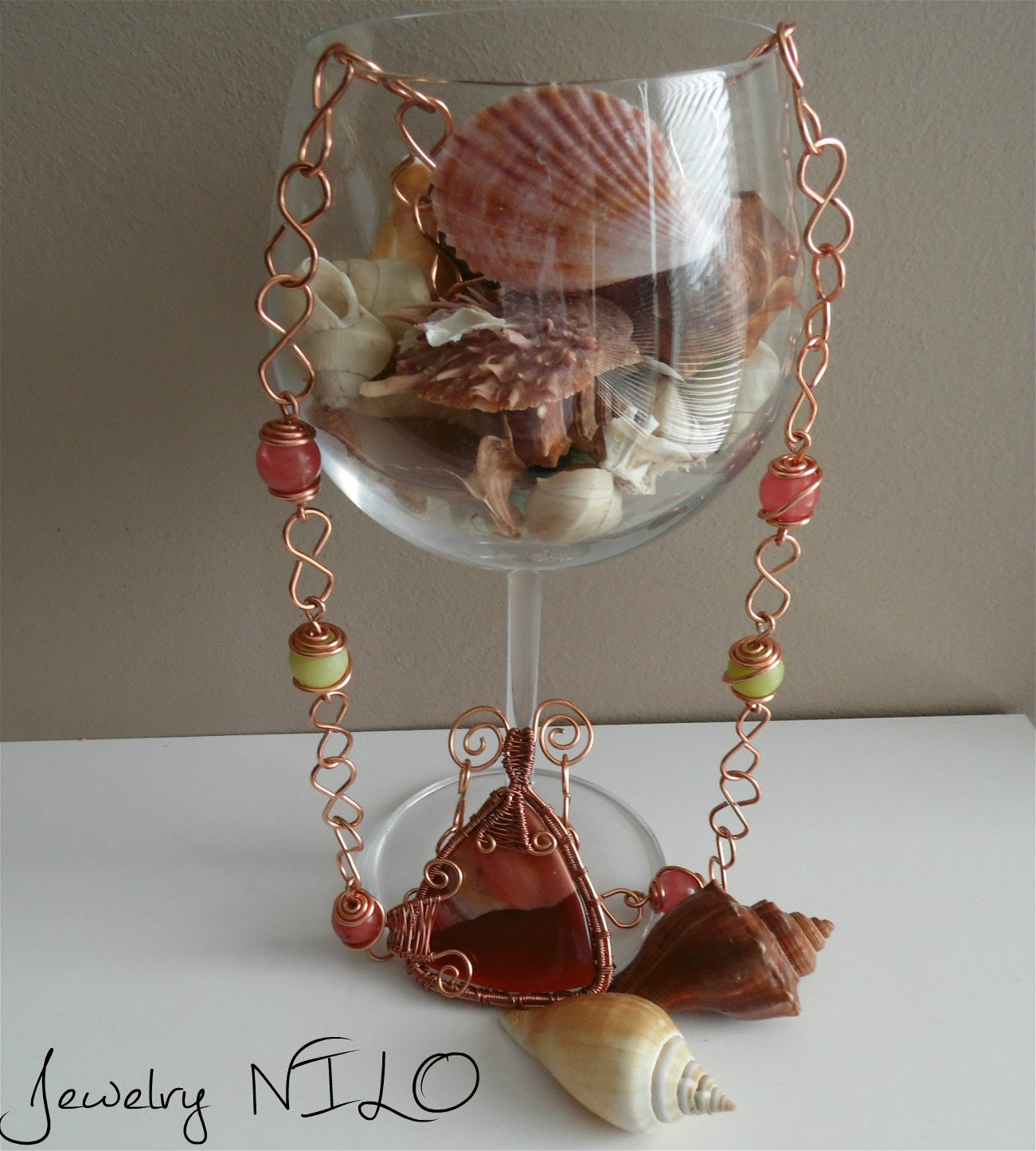 Wire Wrapped Jewelry, Wire Wrapped Necklace,Handmade Wire Wrapped Necklace, Wrapped agate pendant