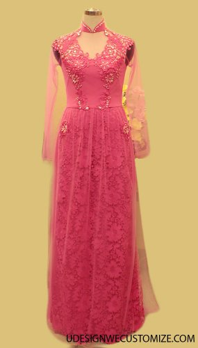 ao dai vietnamese type new diversity good quality beautiful style Miss lace ren