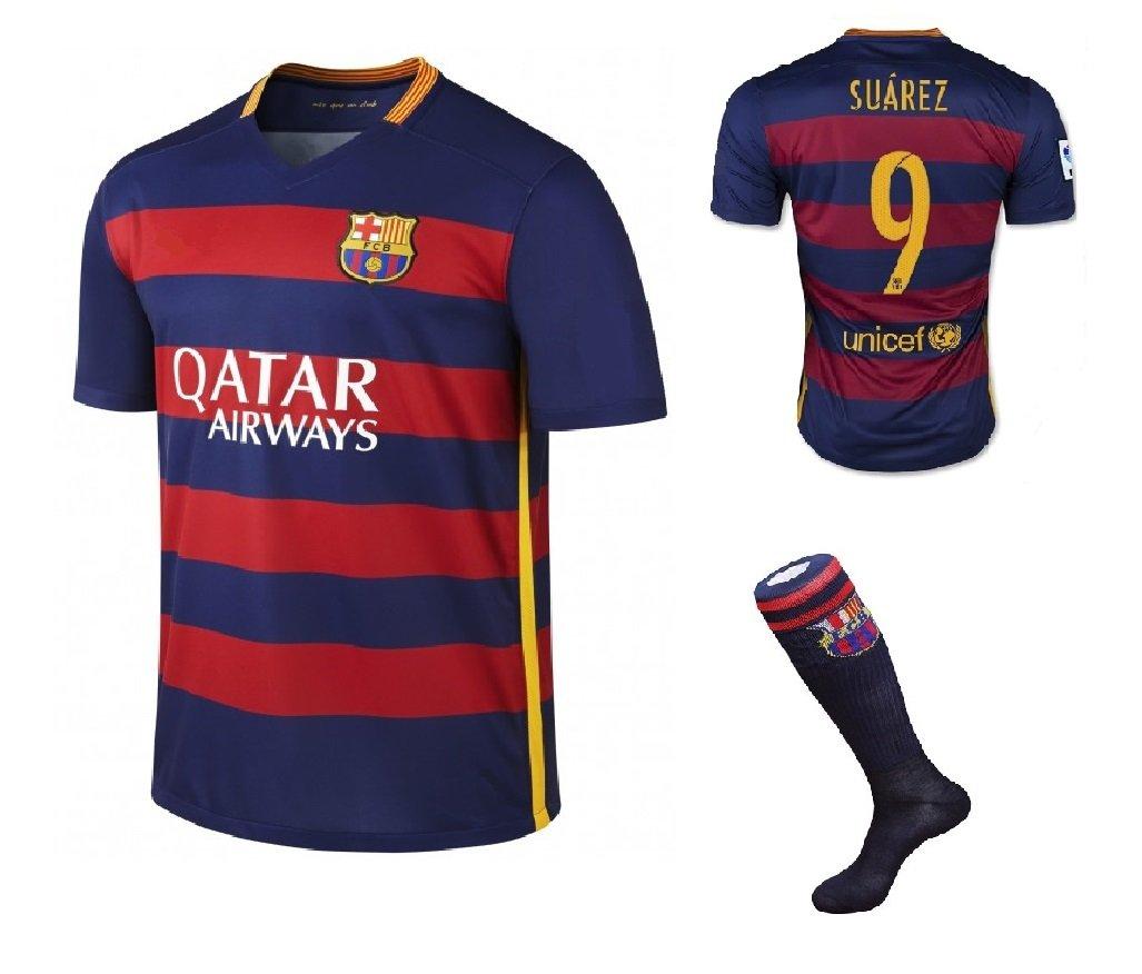 Barcelona #9 Suarez UEFA Home jersey w shorts & socks kid youth for age 6-8