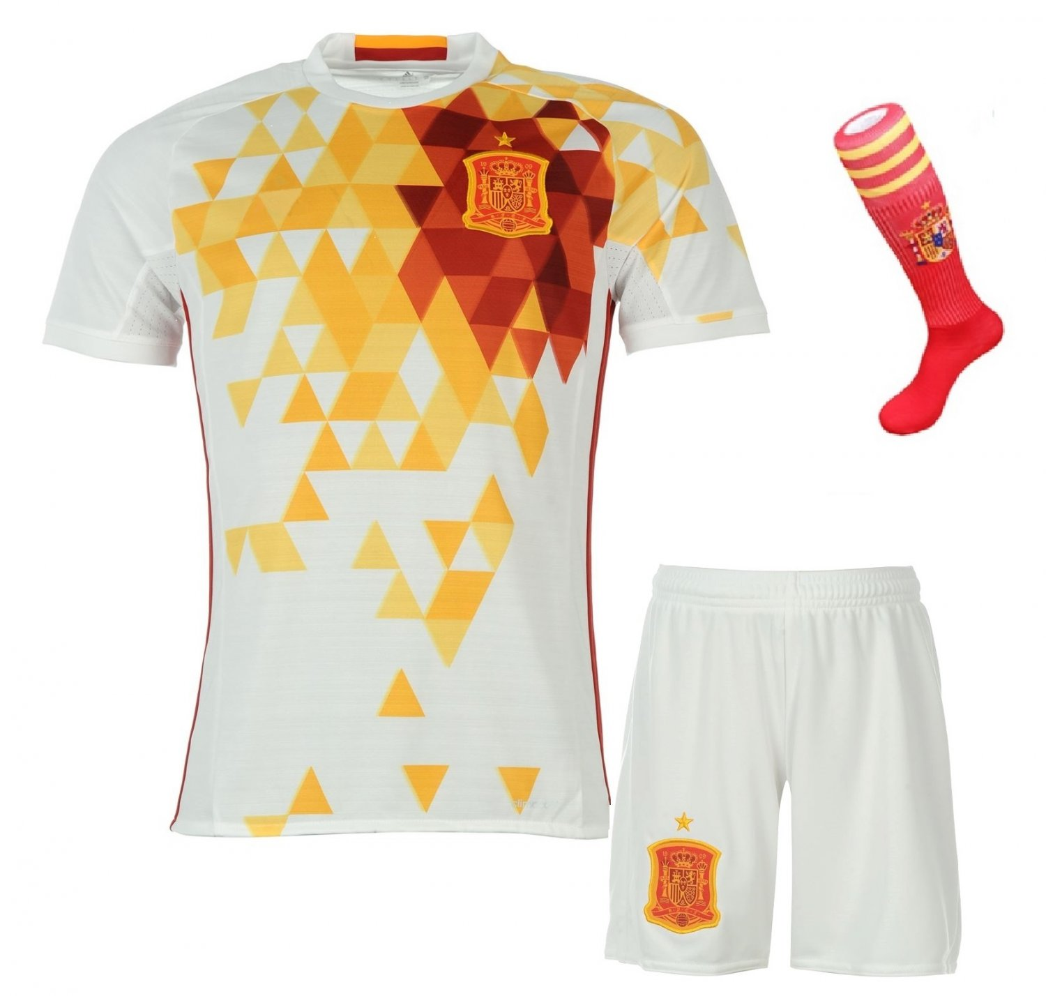 Spain World Cup Away football soccer jersey w shorts & socks kid youth for age 8-10