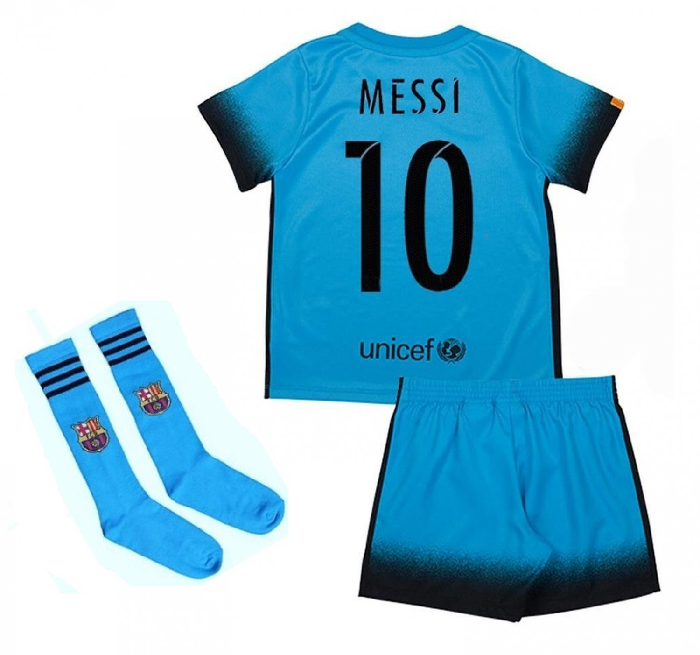 Barcelona #11 Neymar Away Blue jersey w shorts & socks kid youth for age 6-8