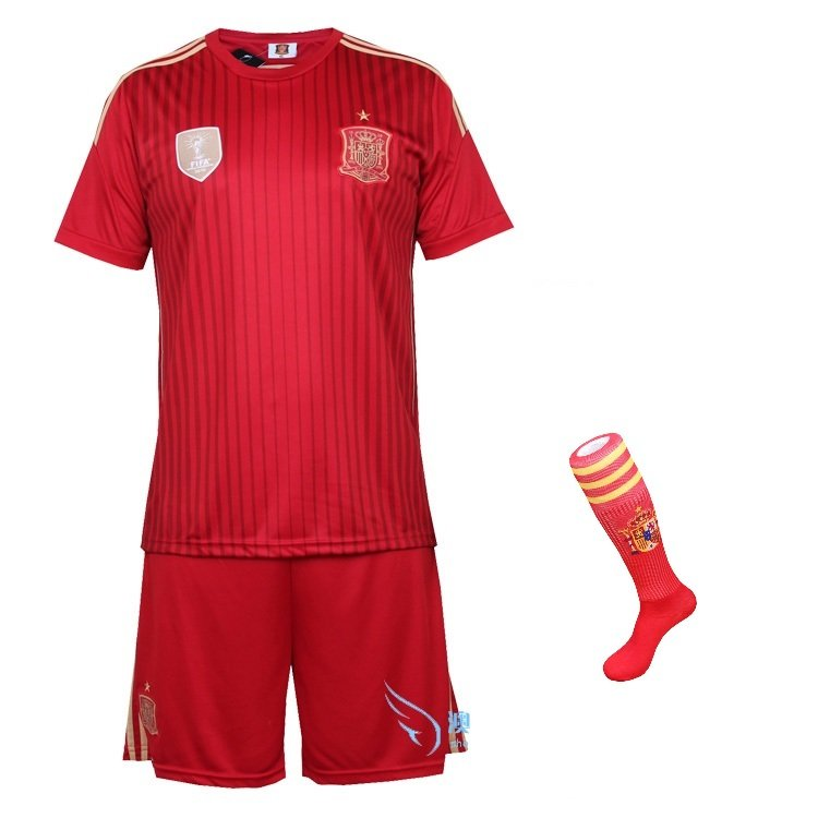 Spain Home jersey w shorts & socks kid youth for age 8-10
