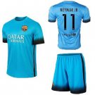 Barcelona #10 Messi Away Blue jersey w shorts kid youth for age 6-8