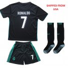 Real Madrid #7 Ronaldo Away jersey w shorts & socks kid youth for age 12-13