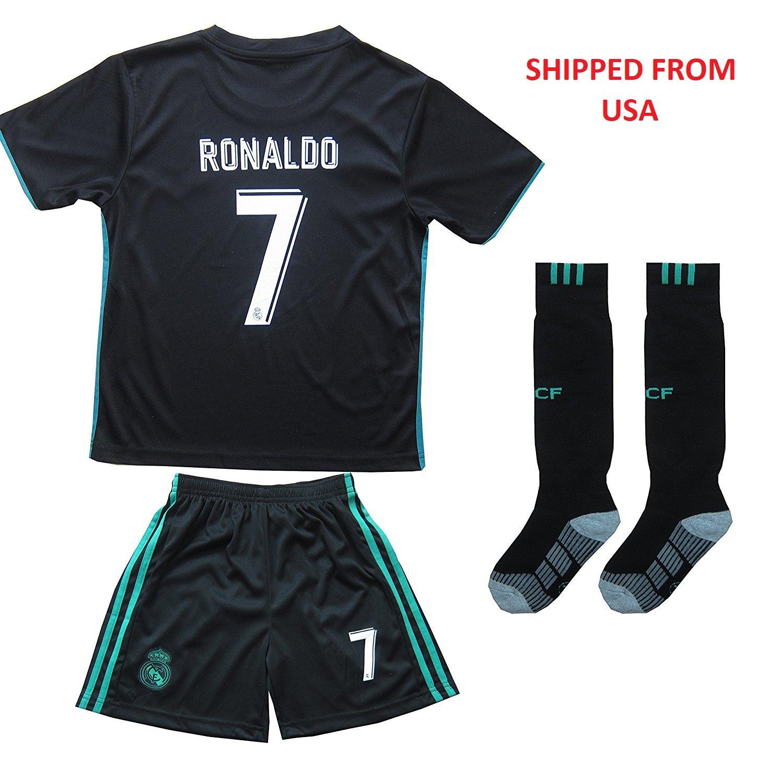 Real Madrid #7 Ronaldo Away jersey w shorts & socks kid youth for age 10-11