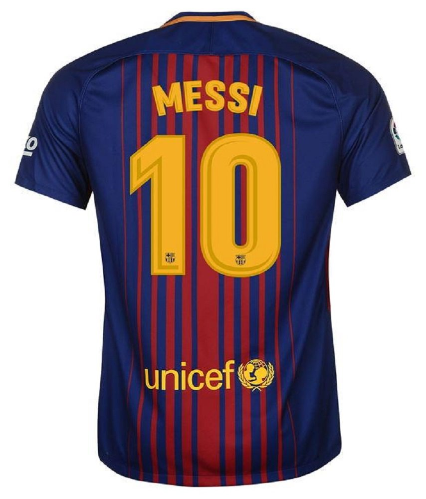 Barcelona #10 Messi UEFA Home jersey kid youth for age 8-10