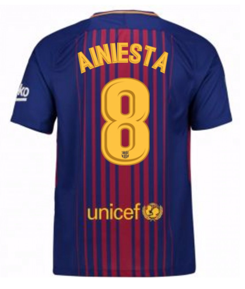 Barcelona #8 Iniesta Home jersey w shorts kid youth for age 8-10