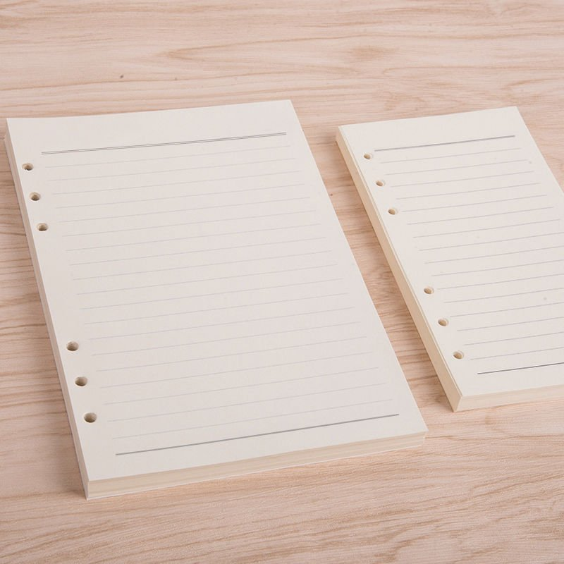 A5 Loose Leaf Journal 100 Sheets Refillable Paper Cream Blank Paper Six Holes