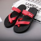 Red Women's Beach Sandals Light Weight EVA Flip Flops Comfortable Woven Canvas