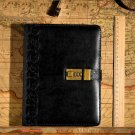 A5 Black Embossed Leather Writing Password Lock Notebook Journal with Pen Gift