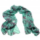 Vintage Red Bicycle Printed Green Scarf Spring Soft Light Weight Shawl Neck Wrap
