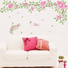 Vinyl Art Pink Rose Flower Swirl Butterfly Wall Sticker Living Room Decoration