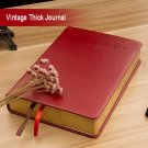 Thick Blank Page Sketch Notebook - Red PU Leather Bound Writing Journal - A6