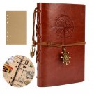 A6 Retro Traveler's Notebook Kraft Refill Paper Inserts - Brown Leather Cover