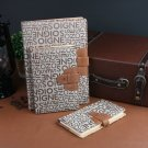 Paper Notebook Leather Bound - Beige Hardcover Journal with Slip-in Buckle