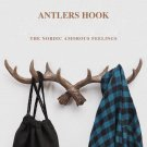 Wooden Antlers Wall Hook for Coats, Hats, Scarf - Deer Rack Decorative Idea