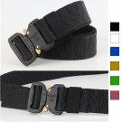 Men's Outdoor Tactical Belt for Jeans Solid Color Canvas Woven Metal Buckle Belt