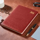 Brown Faux Leather Cover 2018 Monthly Daily Planner Agenda Book 7.5 x 10.2 inch