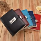 B6 Leather Cover Sprial Journal with Combination Lock Ruled Diary 1 Piece New