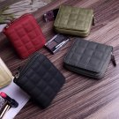 New Women Short Mini Wallet Faux Leather Purse Cute Zipper Check Thread Hand Bag