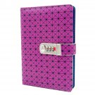 Password Lock Dairy Notebook Medium A5 Leather Cover, Lined Page Journal, Purple