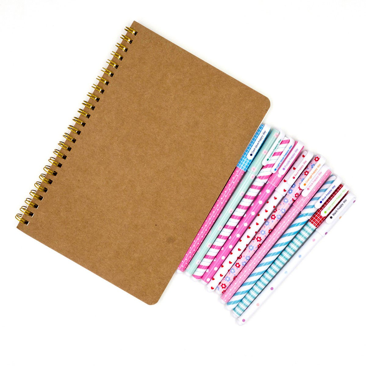 Bullet Journal Kit - A5 Tan Cover Dot Grid Spiral Notebook with 10 Color Pens