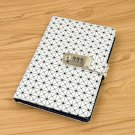 Essential Geometric Faux Leather Ruled / Line Journal with Password Lock - White