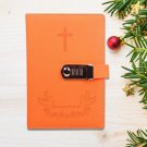 Orange Faux Leather Diary Journal with Combination Lock for Girl Secret Notebook