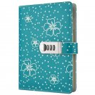 Green Faux Leather Secret Diary Book, Starry Journal with Combination Lock, A5