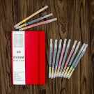 Bullet Journal Kit: Red Dot Grid Notebook Leather Cover A5 with 10 Brush Pens