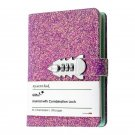 A6 Refillable Journal with Combination Lock, Pink Glitter Cover and Pen Loop
