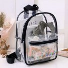 Girls Two-Compartment PVC Plastic Clear Backpack Transparent Travel School Bag