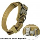 Heavy Duty Tactical Dog Collar with Quick Release Buckle, Hoop & Loop and D Ring - Tan, M Size