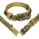 Heavy Duty Tactical Dog Collar with Quick Release Buckle, Hoop & Loop and D Ring - Tan, L Size