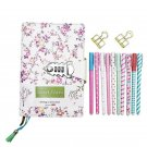 Diary and Pen Gift Set for Girls: Flora Secret Notebook with Lock, Colorful Pens