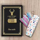 Kids Gift Sets: Faux Leather Secret Notebook with 10pcs Color Pens and Pen Case