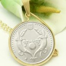 Israel 2 New Sheqalim Coin Pendant 14kt Gold Filled Chain Necklace Coin jewelry