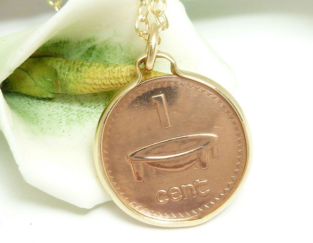 Fiji Coin 1 Cent Copper Coin Pendant Kava Bowl 14 kt Gold Filled Coin jewelry