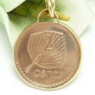 Fiji 2 Cent Copper Coin Pendant Fan Palm Gold Filled Necklace Coin jewelry