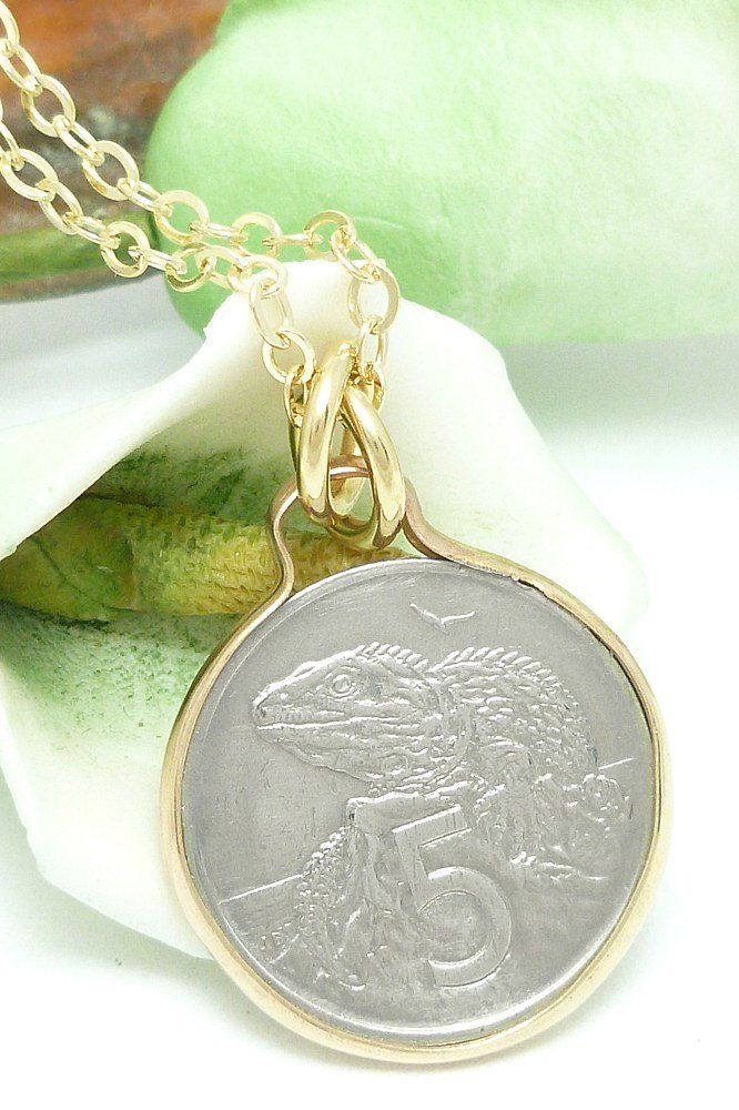 New Zealand 5 Cent Coin Pendant Tuatara Reptile Gold Filled Necklace Coin jewelry