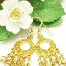 Mauve Freshwater Pearl Chandelier Gold Dangle Earrings