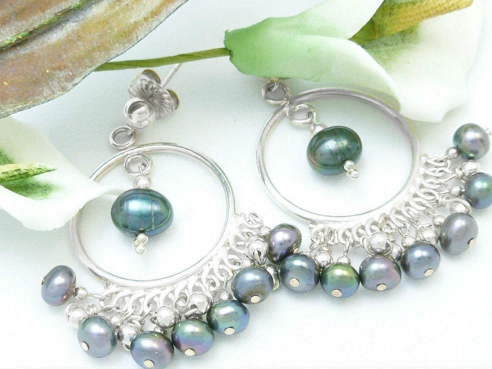 Sterling Silver Chandelier Earrings Peacock Black Freshwater Pearls