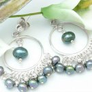 Sterling Silver Chandelier Earrings Peacock Black Freshwater Pearls