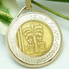 Israel 10 New Sheqalim Bi-Metallic Coin Pendant 14kt Chain Necklace  Coin jewelry