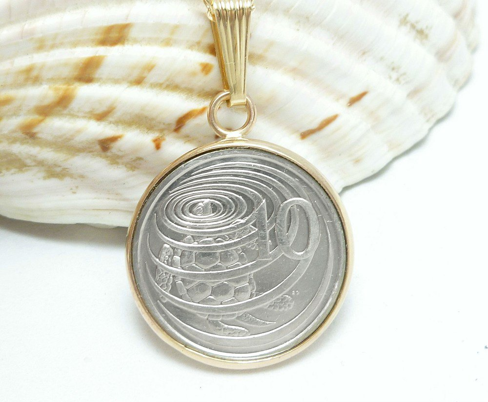 Cayman Island 10 Cent Coin Pendant Image of Hawksbill Turtle Coin jewelry
