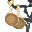 Indian Head Penny Coin Earrings 14 kt Gold Filled Mint Dates 1900 1908  Coin jewelry