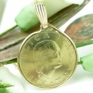 Italian 200 Lire Coin Pendant Gold Filled Bezel Link Chain Necklace Coin jewelry