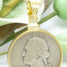 Washington Silver Quarter Eagle 1942 Coin Pendant Gold Filled Bezel Coin Jewelry